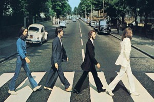 A photo of The Beatles on Abbey Road Strips