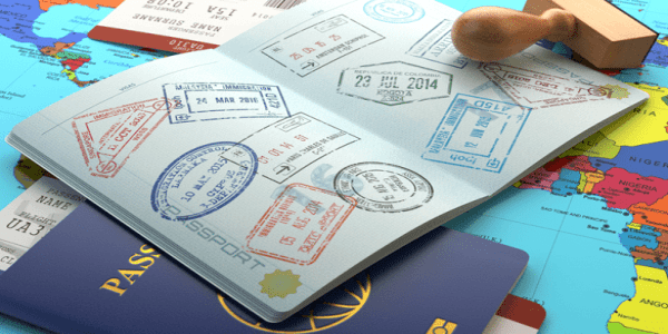 A passport with stamps