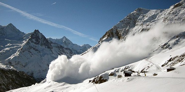 Avalanche in the Swiss Alpes
