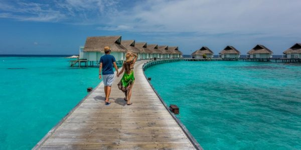 Boy and girl on vacation in Maldives