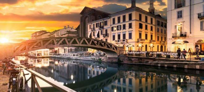 The canals of Milan in Italy
